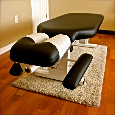 Chiropractor table at Juniper chiropractic